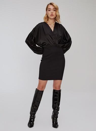People By Fabrika Saten Detaylı Elbise Siyah